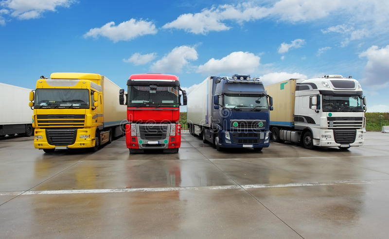Truck in warehouse - Cargo Transport stock photos