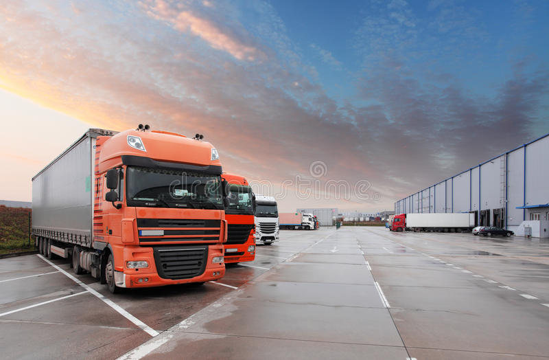 Truck in warehouse - Cargo Transport stock image