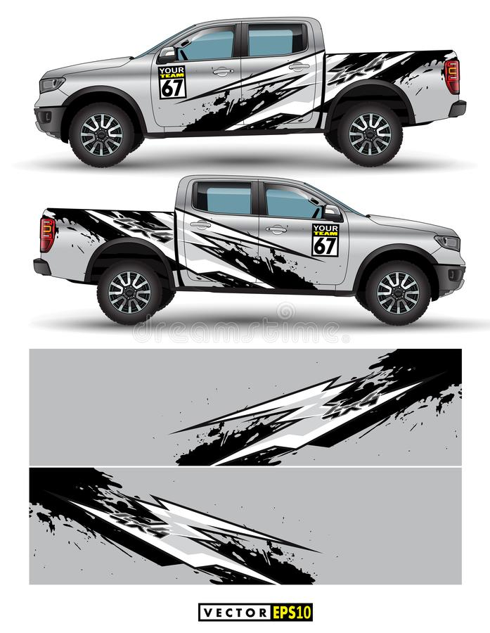 Truck 4 wheel drive and car graphic vector. abstract lines with gray background design for vehicle vinyl wrap royalty free illustration