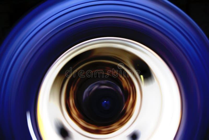 Truck wheel motion blur royalty free stock photo