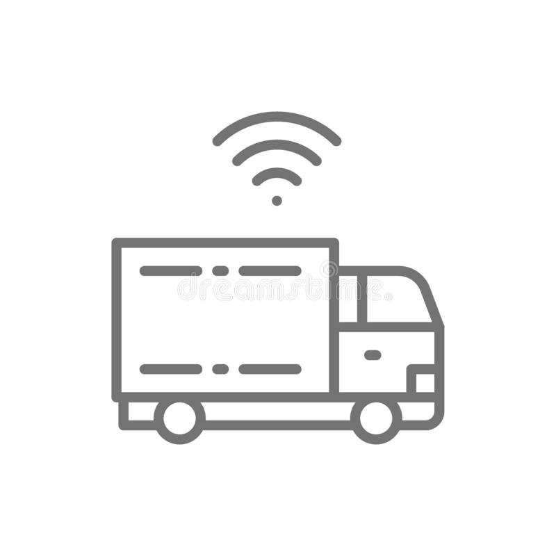 Truck with Wi-Fi, smart car, futuristic automotive line icon. stock illustration