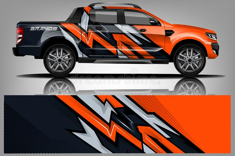 Truck wrap design. Wrap, sticker and decal design royalty free illustration