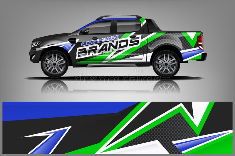 Truck Wrap Livery design. Ready print wrap design for Van. - Vector royalty free illustration