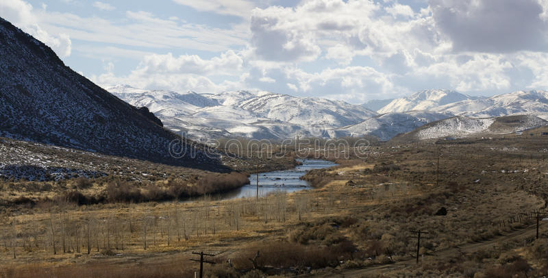 Truckee River near Reno. East of Reno on highway 80. This area is known for hosting allot of brothels. This photo taken close to the historic Mustang Ranch site royalty free stock photos