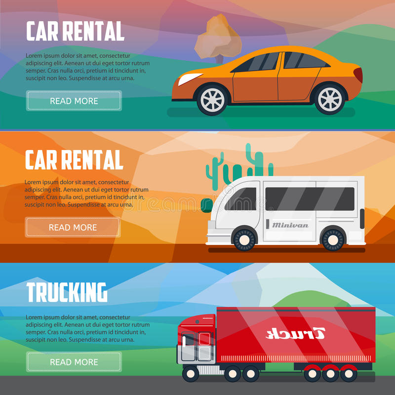 Trucking And Car Rental Banners Stock Vector Illustration Of Banner Driving 84640963