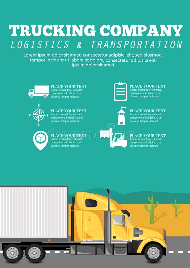 Trucking company poster with container truck royalty free illustration