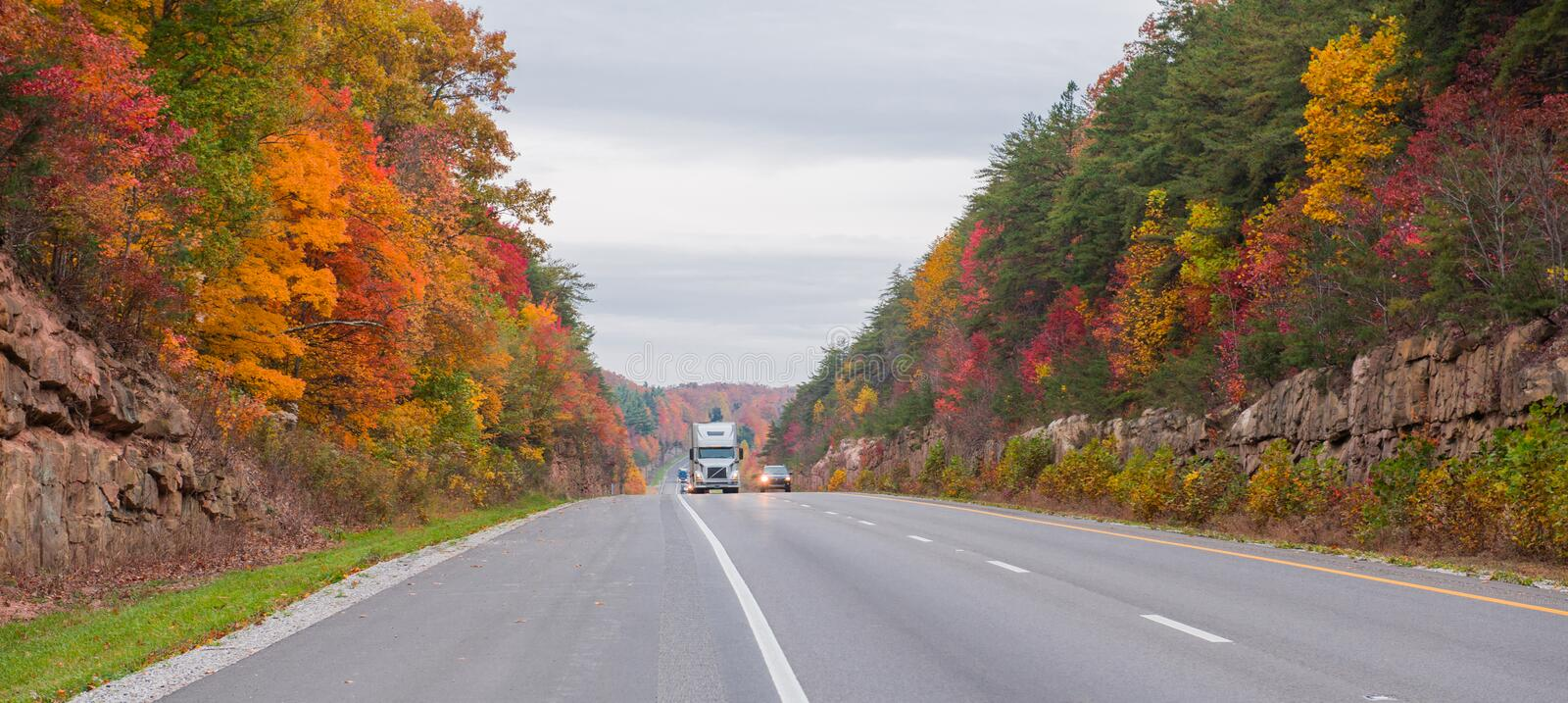 Trucking on Interstate 65 in Kentucky. In the autumn royalty free stock image