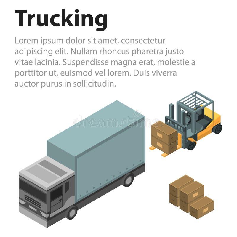 Trucking loading concept background, isometric style. Trucking loading concept background. Isometric illustration of trucking loading vector concept background royalty free illustration