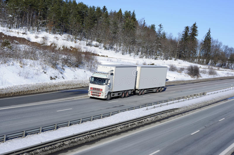 Download Trucking in snowy winter stock photo. Image of interstate - 17885560