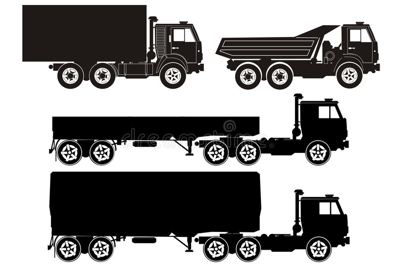 Trucks. Set of vector truck illustrations stock illustration