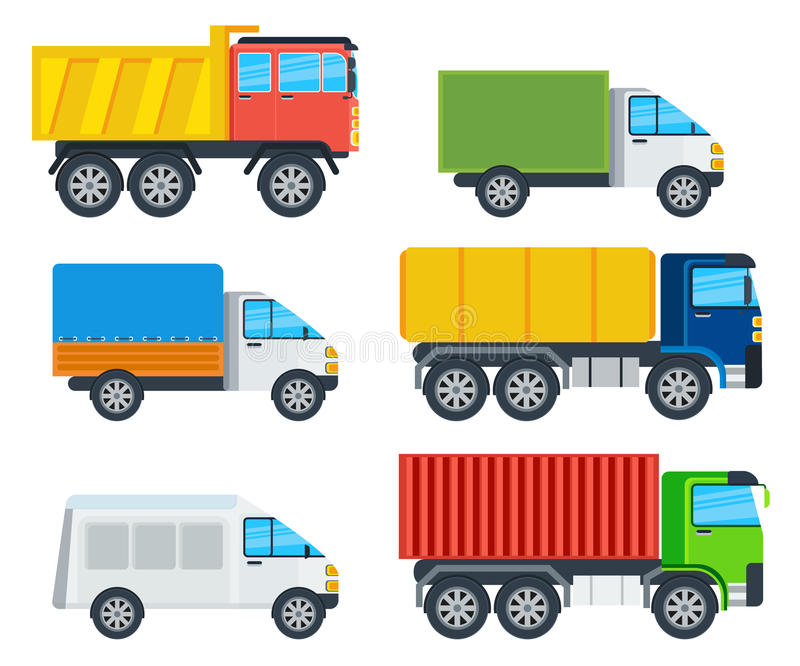 Trucks Cartoon Vector Models Collection. Trucks cartoon models. Lorry, freezer, tipper, road tanker, mining truck, container carrier, wagon vector illustrations royalty free illustration