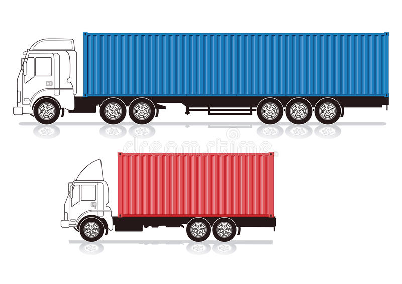 Trucks with containers. Illustration of two trucks, one small and one large with red and blue containers isolated on white background royalty free illustration
