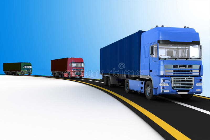 Trucks on freeway. Concept of logistics, delivery and transporting. Trucks on freeway. 3d render illustration. Concept of logistics, delivery and transporting by stock illustration