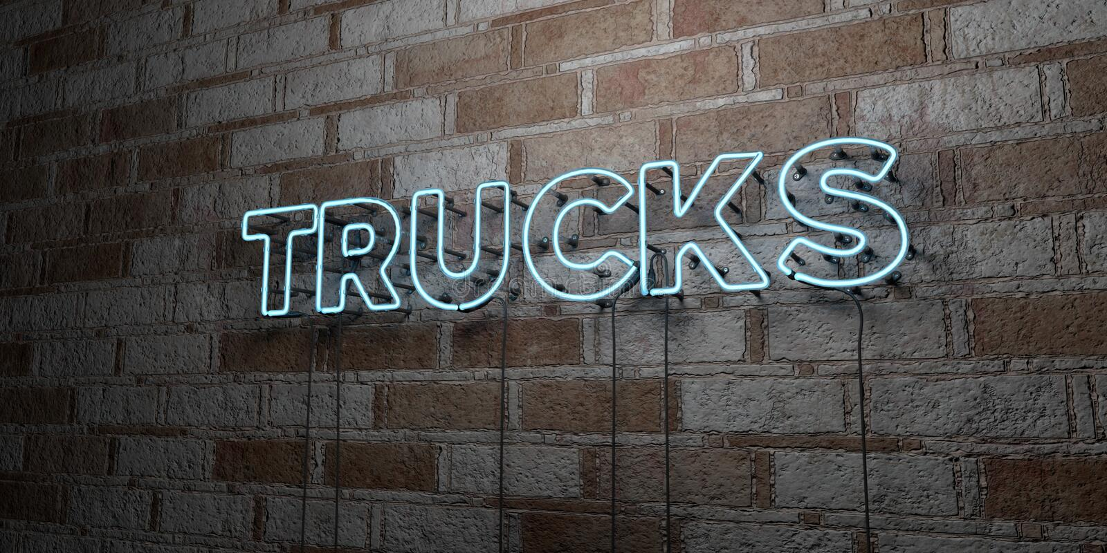 TRUCKS - Glowing Neon Sign on stonework wall - 3D rendered royalty free stock illustration. Can be used for online banner ads and direct mailers vector illustration