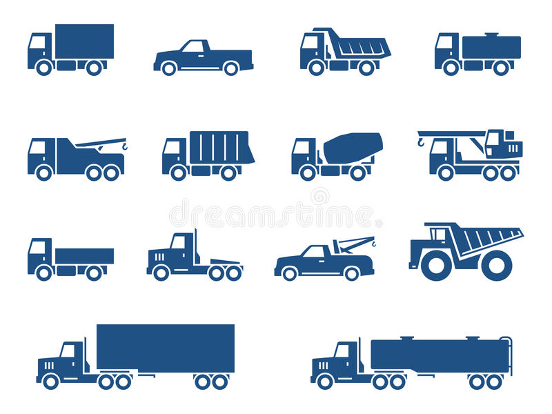 Trucks icons set. Blue vector silhouettes of vehicles vector illustration