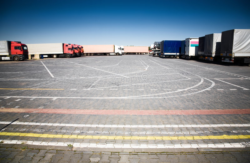 Download Trucks on a parking stock image. Image of transport, industrial - 6671903