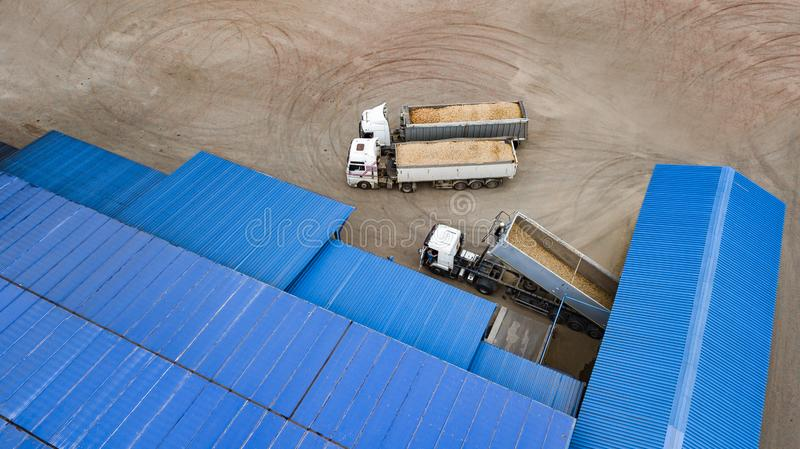 Trucks with potatoes at the potato processing factory top view royalty free stock photo