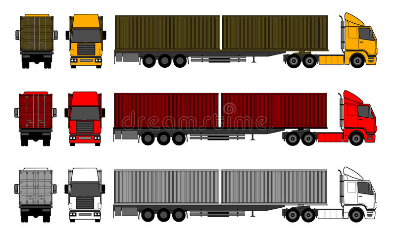 Download Trucks With Shipping Containers Stock Vector - Illustration of delivery, driver: 24020376