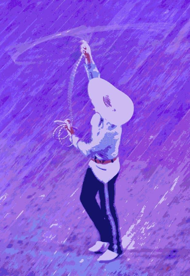 Truco de la cuerda del vaquero stock de ilustración