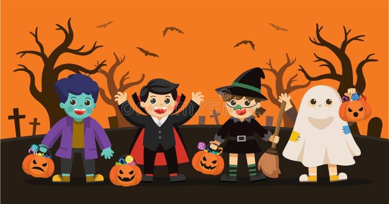 Truco de los niños o el tratar en Halloween stock de ilustración