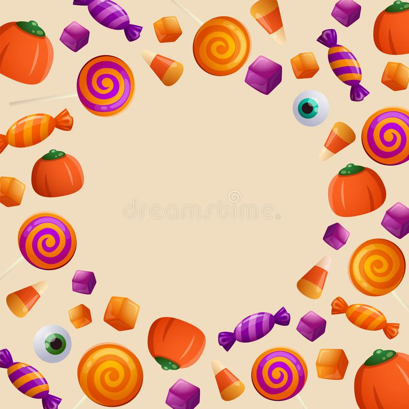 Truco o convite Dulce y caramelos de Halloween libre illustration