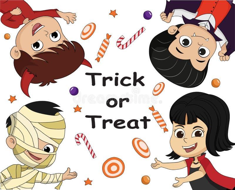 Download Truco O Convite Tarjeta Del Fondo Del Cartel De Halloween Vector E Illus Ilustración del Vector - Ilustración de cabrito, traje: 100526868