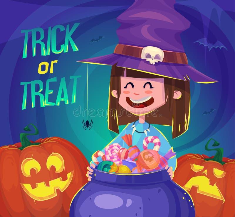 Truco o convite Tarjeta del fondo del cartel de Halloween stock de ilustración