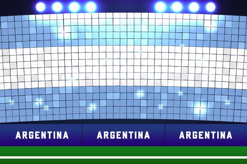 Trucos de la tarjeta de la bandera de la Argentina Fútbol de la Argentina o fondo del estadio de fútbol ilustración del vector