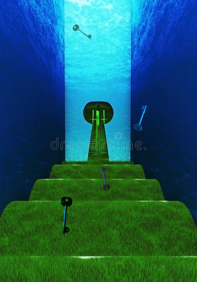 Trudna podwodna ścieżka z keyhole kształtnym drzwi obraz stock