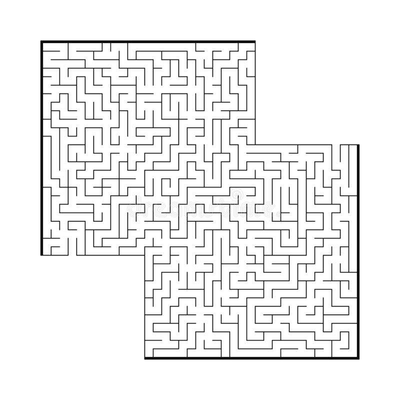 Trudny ampuła kwadrata labirynt Gra dla dzieciaków i dorosłych Łamigłówka dla dzieci Labitynt zagadka Płaska wektorowa ilustracja ilustracja wektor