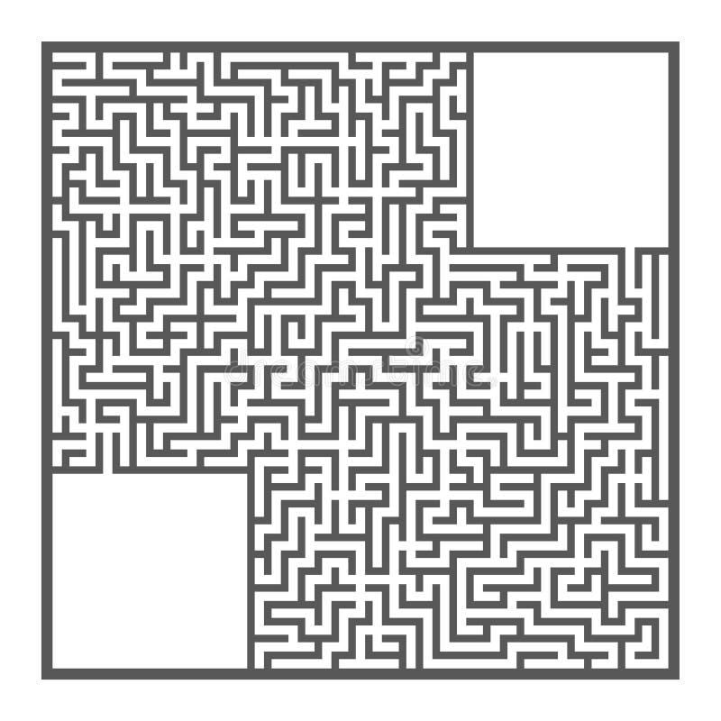 Trudny ampuła kwadrata labirynt Gra dla dzieciaków i dorosłych Łamigłówka dla dzieci Labitynt zagadka Płaska wektorowa ilustracja royalty ilustracja
