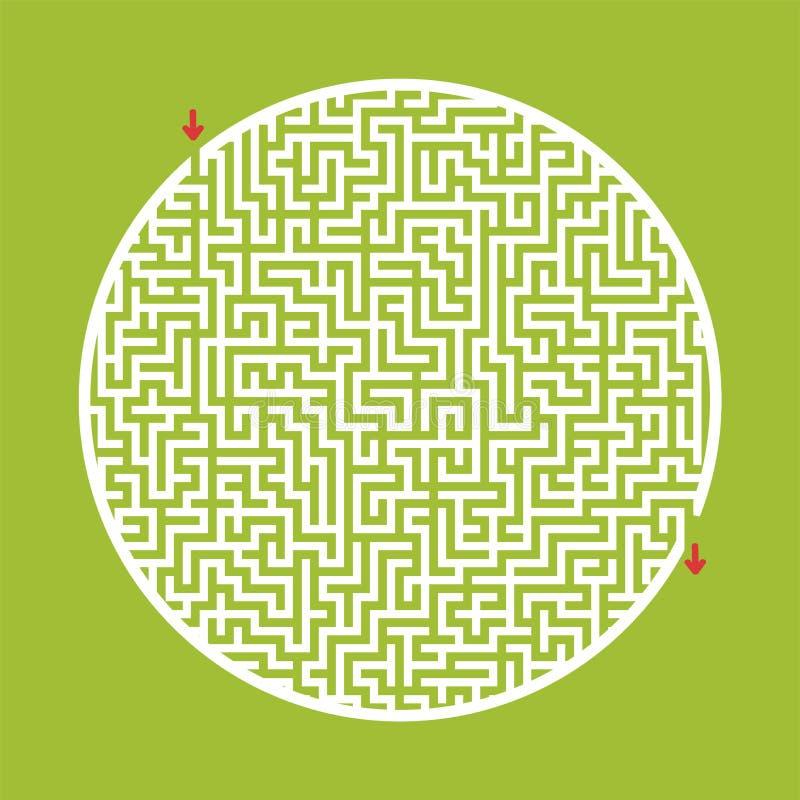 Trudny duży round labirynt Gra dla dzieciaków i dorosłych Łamigłówka dla dzieci Labitynt zagadka Płaska wektorowa ilustracja royalty ilustracja