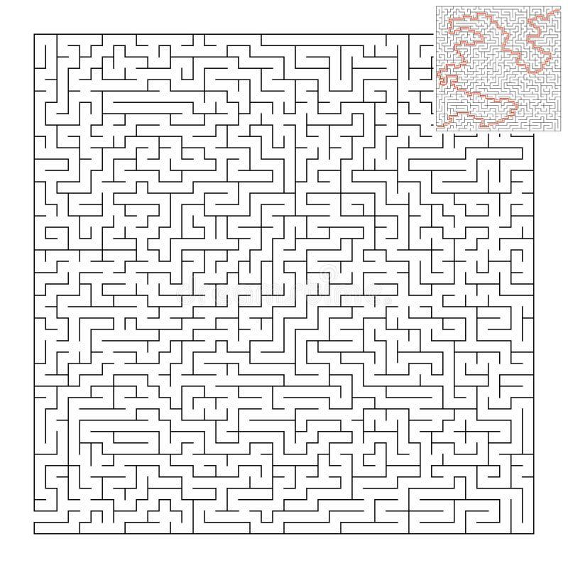 Trudny kwadratowy labirynt gemowi dzieciaki Łamigłówka dla dzieci i dorosłego Jeden wejście, jeden wyjście Labitynt zagadka Płask ilustracja wektor