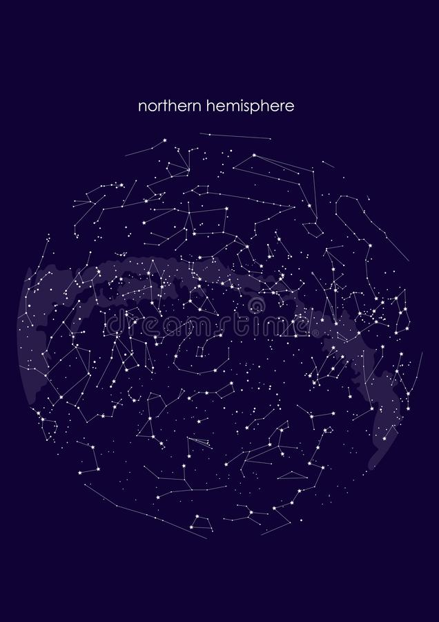 True constellations of the Northern hemisphere, star map. Science astronomy. stock illustration