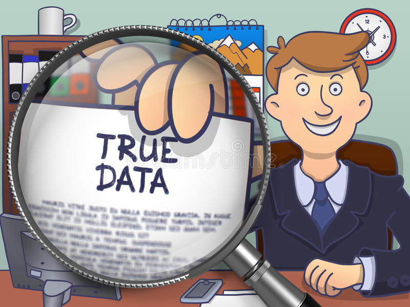 True Data through Lens. Doodle Concept. vector illustration