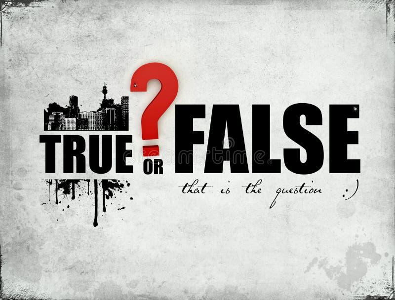 True or False. Words on a grange background vector illustration