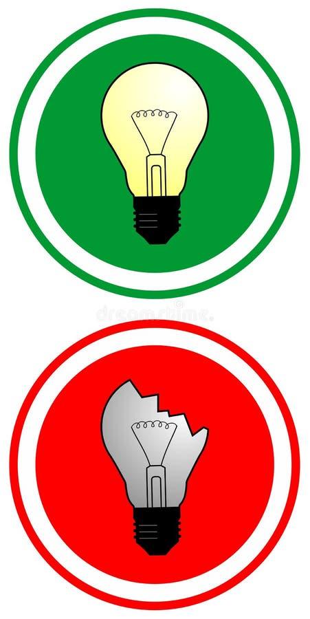 True and false bulbs vector illustration
