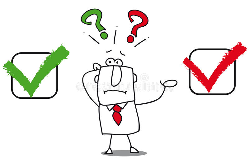 True or false. This businessman don't know. Is it true or false royalty free illustration