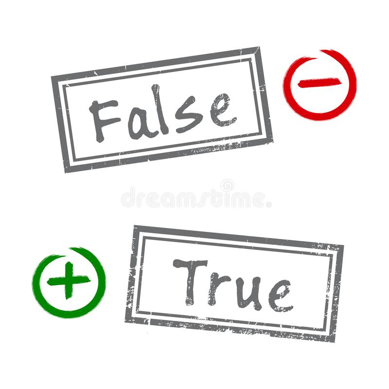 True and false grunge rubber stamp isolated on white background. Minus and Plus signs in the circle. Flat design stock illustration