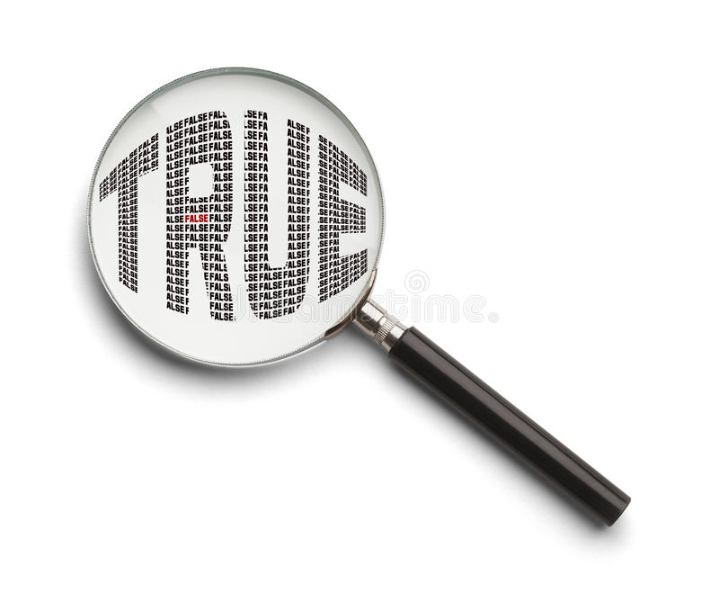 True False Magnifying Glass royalty free stock photography