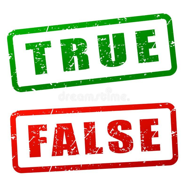 True and false stamp design stock illustration
