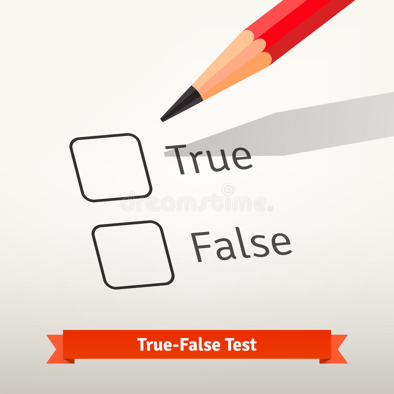 True false test or survey. Red pencil above first checkbox on the paper ready to mark an answer. Flat style vector illustration isolated on grey background stock illustration