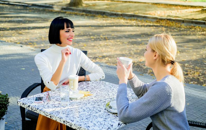 True friendship friendly close relations. Conversation of two women cafe terrace. Friendship meeting. Sharing thoughts royalty free stock photos