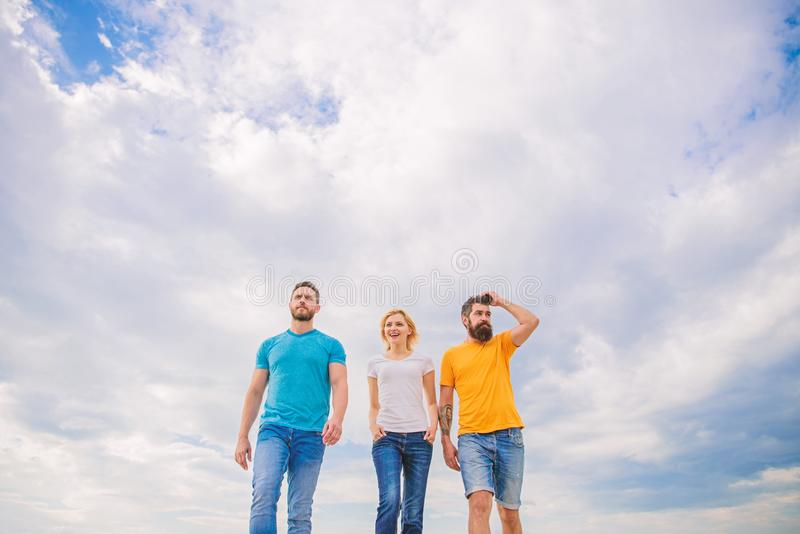 True friendship grow with destiny obstacles. United threesome true friends. Keep moving trough long way. United group. Purposefully moves forward. Men and women stock images