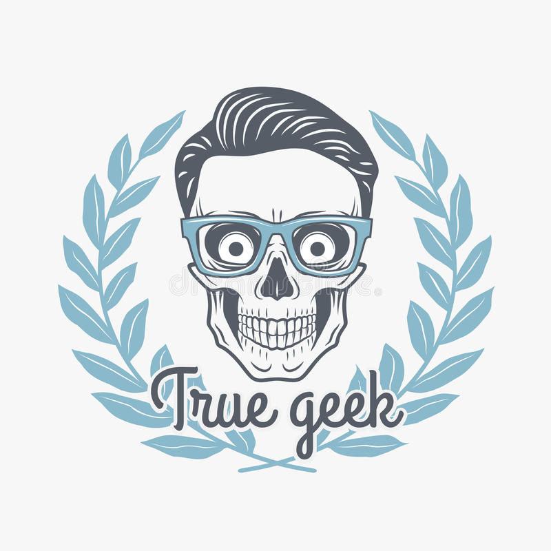 True geek skull vector with hipster glasses stock images