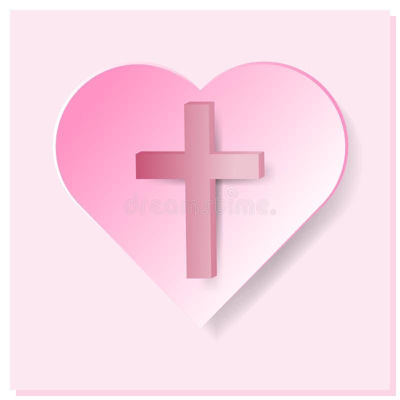 True korset i rosa hjärta på rosa bakgrund vektor illustrationer