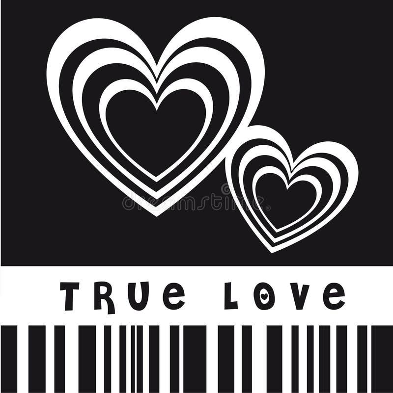 True love. Vector illustration with hearts, black and white image vector illustration