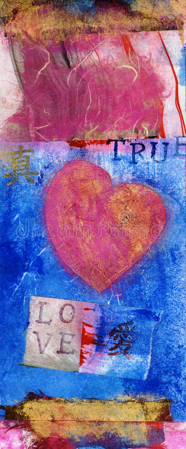 TRUE LOVE Art Collage. Funky mix media collage with a pink heart and the words TRUE LOVE. The Chinese characters also mean 'true: and love stock illustration