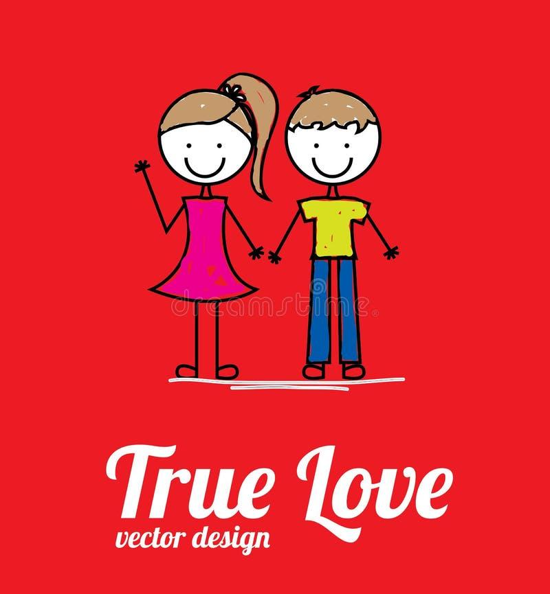 True love. Card over red background vector illustration royalty free illustration