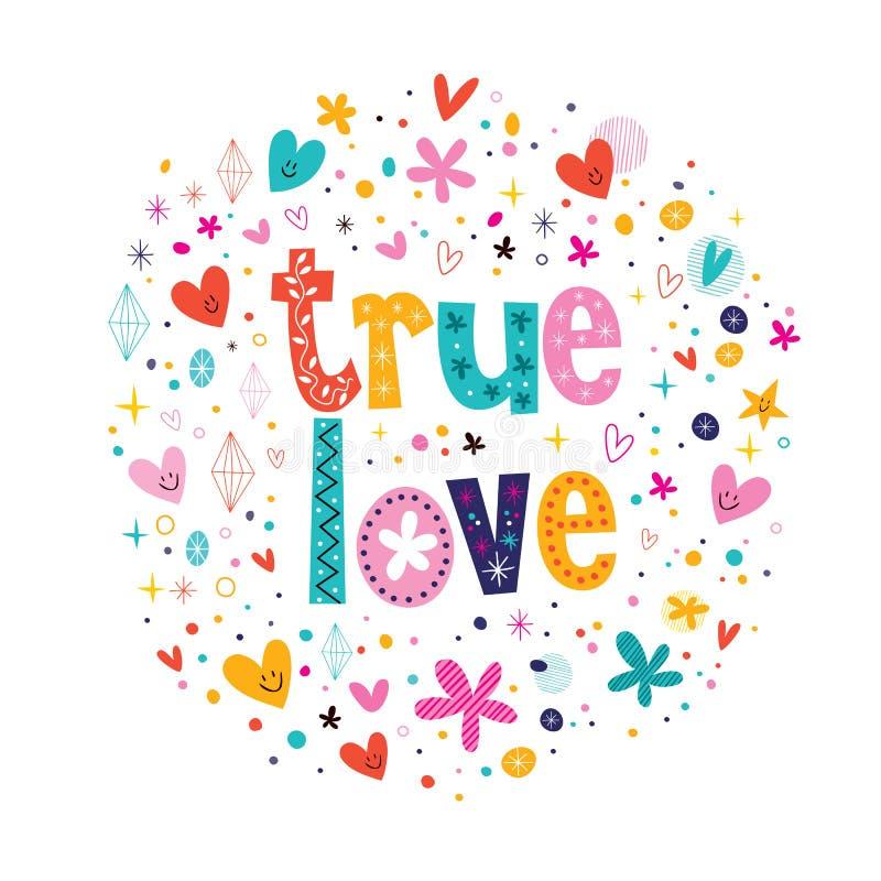 True love. Decorative lettering text vector illustration